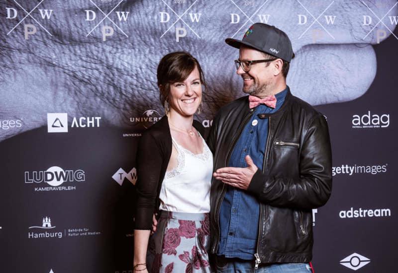 Links: Anna Wittke Rechts: Michael Kasper beim Deutschen Werbefilmpreis